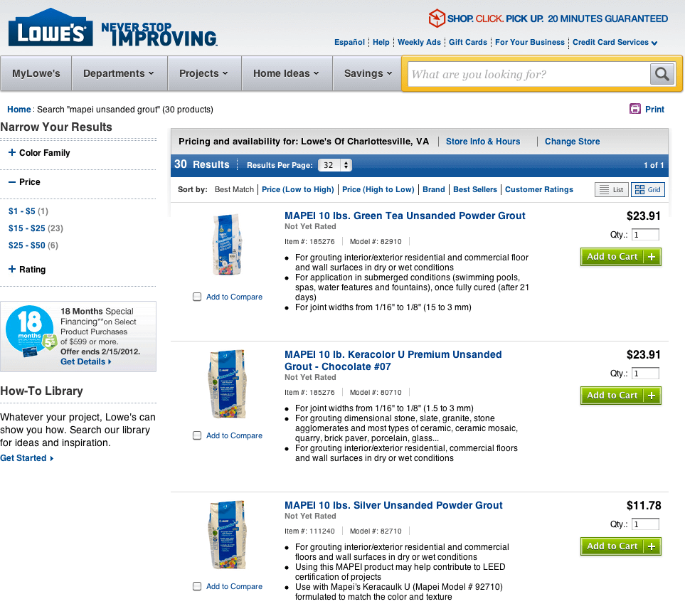 Lowes search results for Mapei Unsanded Grout