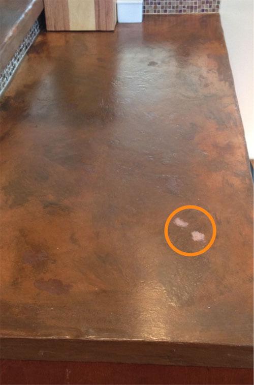 Scuffs on concrete countertop