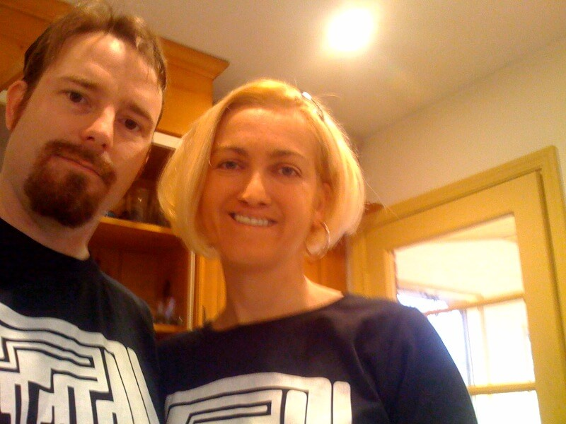 Eric and Kate modeling 1234567890 day shirts